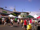 The crowds are enjoying the craft fair and street festival in Kaimuki!