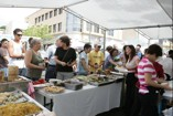 Hungry crowds gather for some good food at a booth at Celebrate Kaimuki